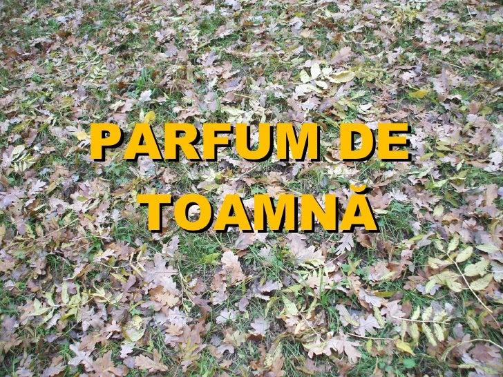 PARFUM DE  TOAMN Ă