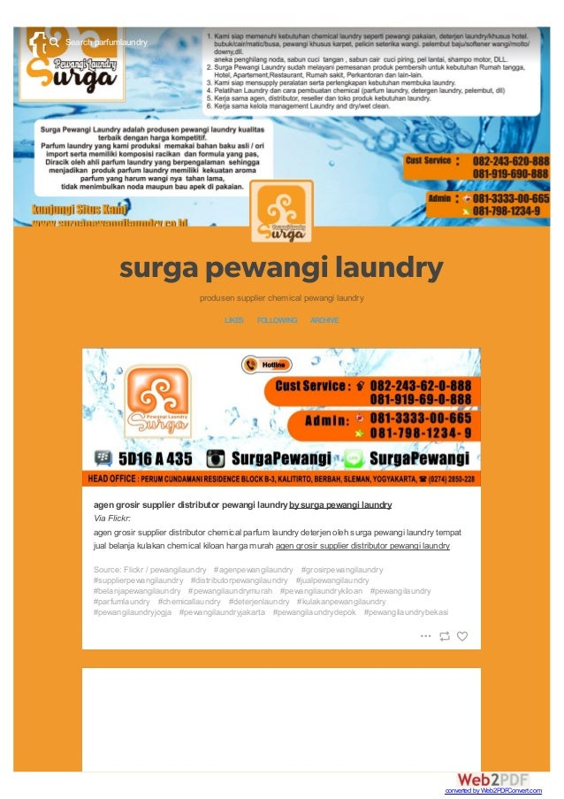 produsen supplier chemical pewangi laundry LIKES FOLLOWING ARCHIVE agen grosir supplier distributor pewangi laundrybysurga...