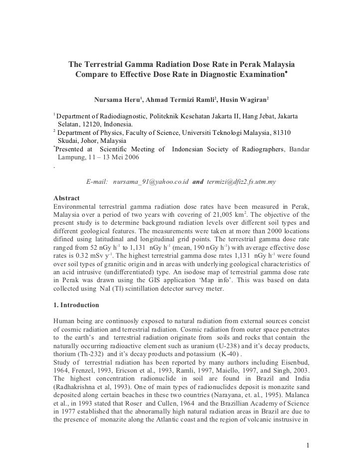 The Terrestrial Gamma Radiation Dose Rate in Perak Malaysia Compare to Effective Dose Rate in Diagnostic Examination