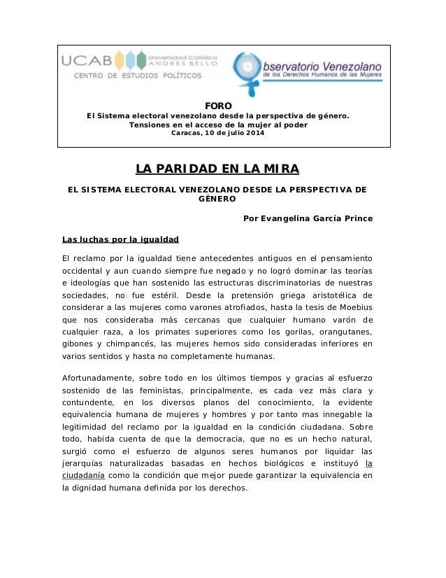 FORO El Sistema electoral venezolano desde la perspectiva de género. Tensiones en el acceso de la mujer al poder Caracas, ...