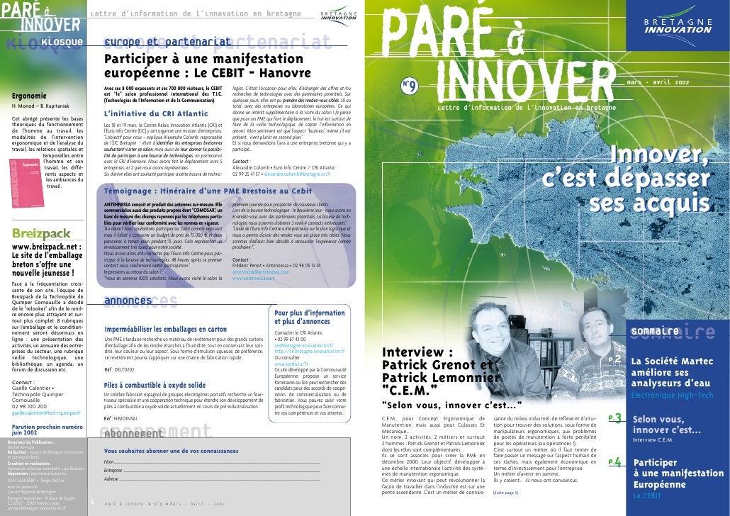 Paré à innover#9             19/03/02        17:32   Page 1     PARÉ à                                         Lettre d'in...