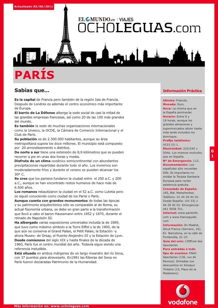 Actualizado 03/06/2011PARÍSSabías que...                                                           Información PrácticaEs ...