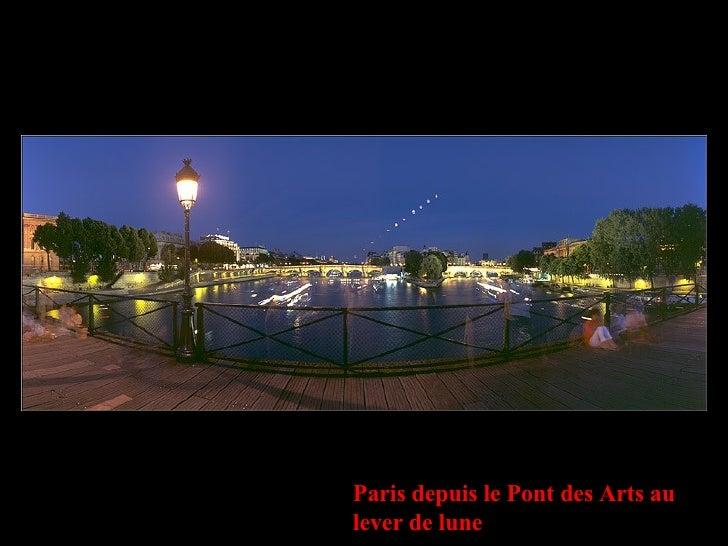 Paris depuis le Pont des Arts au lever de lune