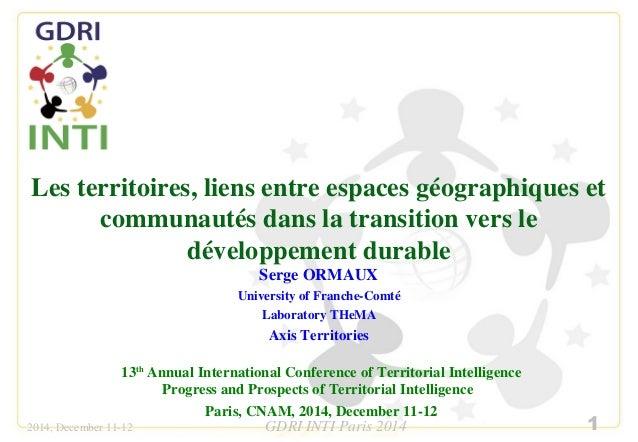 Les territoires, liens entre espaces géographiques et  communautés dans la transition vers le  développement durable  Serg...