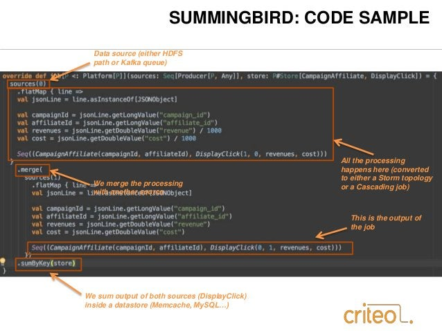 SUMMINGBIRD: CODE SAMPLE  Data source (either HDFS  path or Kafka queue)  All the processing  happens here (converted  to ...