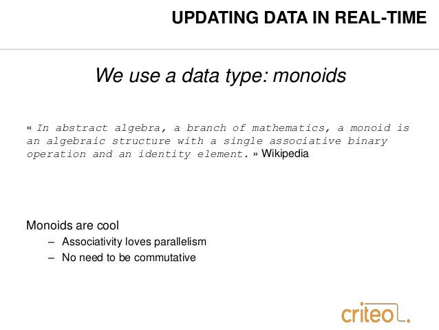 UPDATING DATA IN REAL-TIME  We use a data type: monoids  « In abstract algebra, a branch of mathematics, a monoid is  an a...