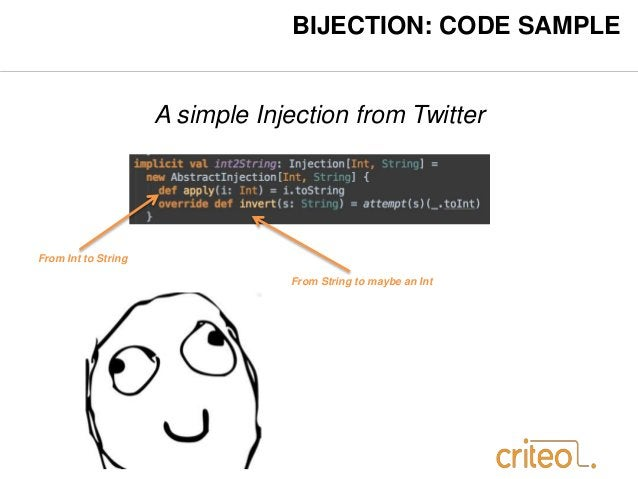 BIJECTION: CODE SAMPLE  A simple Injection from Twitter  From Int to String  From String to maybe an Int