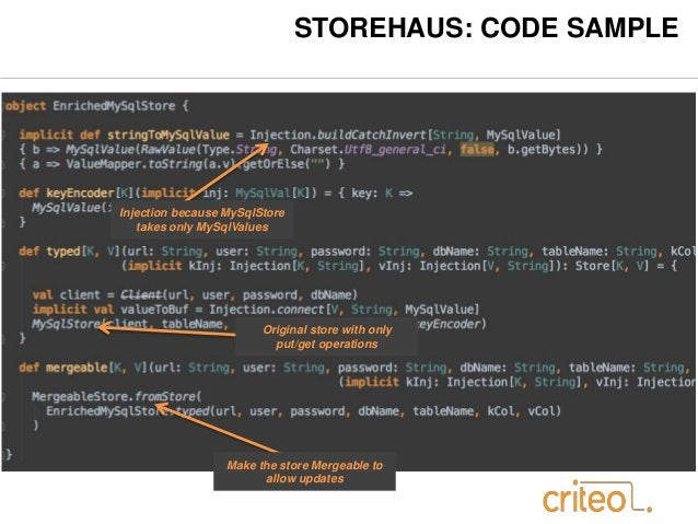 STOREHAUS: CODE SAMPLE  Injection because MySqlStore  takes only MySqlValues  Original store with only  put/get operations...