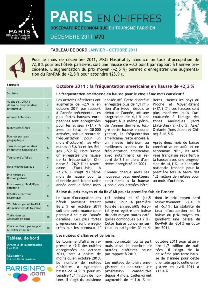 Pour le mois de décembre 2011, MKG Hospitality annonce un taux d'occupation de                      72,8 % pour les hôtels...