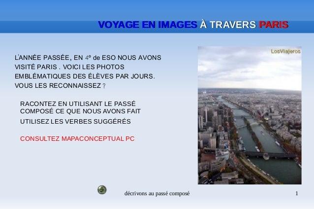 décrivons au passé composé 1 VOYAGE EN IMAGESVOYAGE EN IMAGES À TRAVERSÀ TRAVERS PARISPARIS ' , 4LANNÉE PASSÉE EN º de ESO...