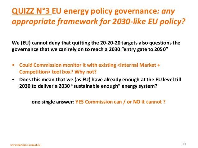 www.florence-school.eu QUIZZ N°3 EU energy policy governance: any appropriate framework for 2030-like EU policy? We (EU) c...