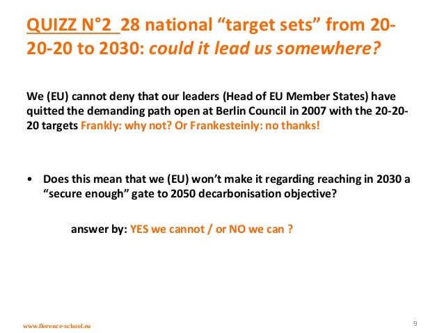 """www.florence-school.eu QUIZZ N°2 28 national """"target sets"""" from 20- 20-20 to 2030: could it lead us somewhere? We (EU) can..."""