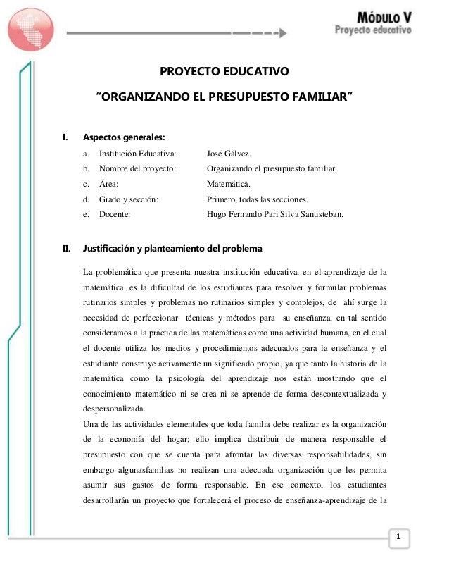 proyecto matemÁtico organizando el presupuesto familiar