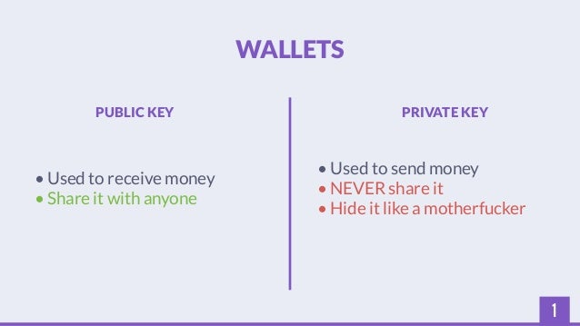 1  WALLETS  PUBLIC KEY PRIVATE KEY  • Used to receive money  • Share it with anyone  • Used to send money  • NEVER share i...