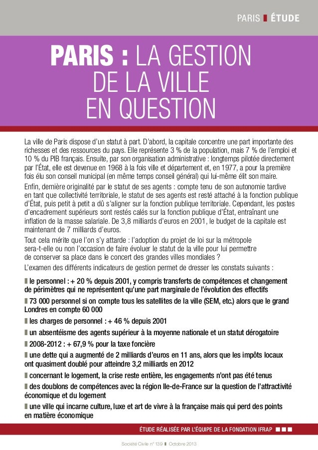 PARIS ❚ ÉTUDE  3$5,6} LA GESTION DE LA VILLE EN QUESTION ,A VILLE DE 0ARIS DISPOSE D UN STATUT ą PART $ ABORD