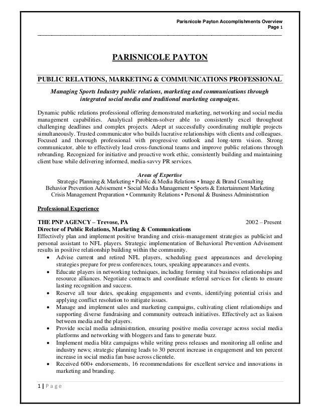 Parisnicole Payton Accomplishments Overview Page 1 _______________________________________________________________________...