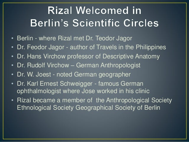 rizal paris to berlin Rizal received pacianos remittance of p1000 which forward by juan luna from paris and immediately paid  a city near berlin at the dawn of may 11, 1887, rizal.