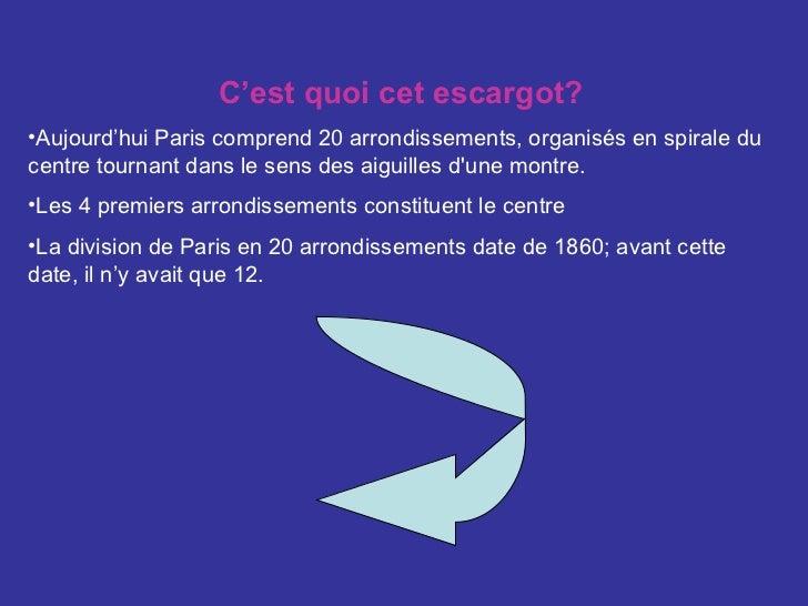 <ul><li>C'est quoi cet escargot? </li></ul><ul><li>Aujourd'hui Paris comprend 20 arrondissements, organisés en spirale du ...