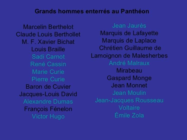 Jean  Jaurès   Marquis de Lafayette  Marquis de Laplace  Chrétien Guillaume de Lamoignon de Malesherbes  André Malraux   M...