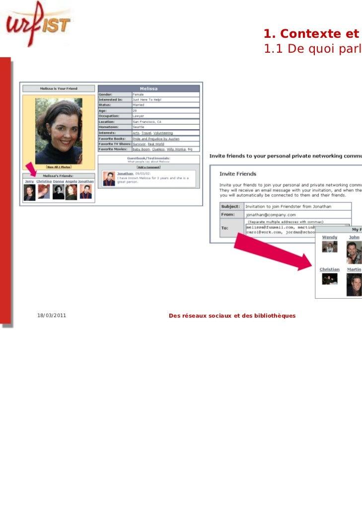 1. Contexte et usages                                          1.1 De quoi parle-t-on ?18/03/2011   Des réseaux sociaux et...