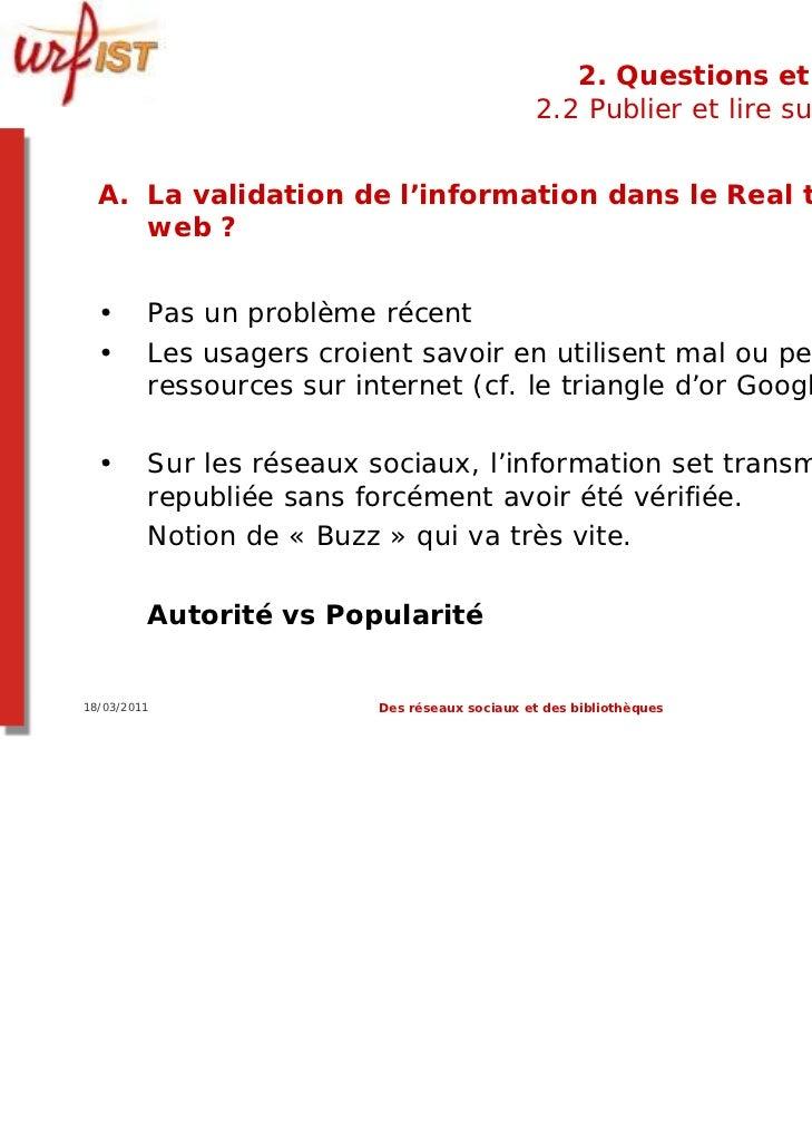 2. Questions et limites                                               2.2 Publier et lire sur le web  A. La validation de ...
