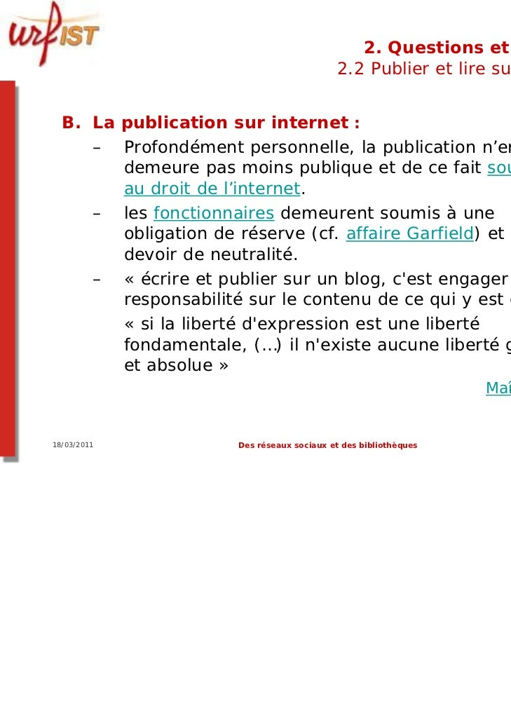2. Questions et limites                                           2.2 Publier et lire sur le web  B. La publication sur in...