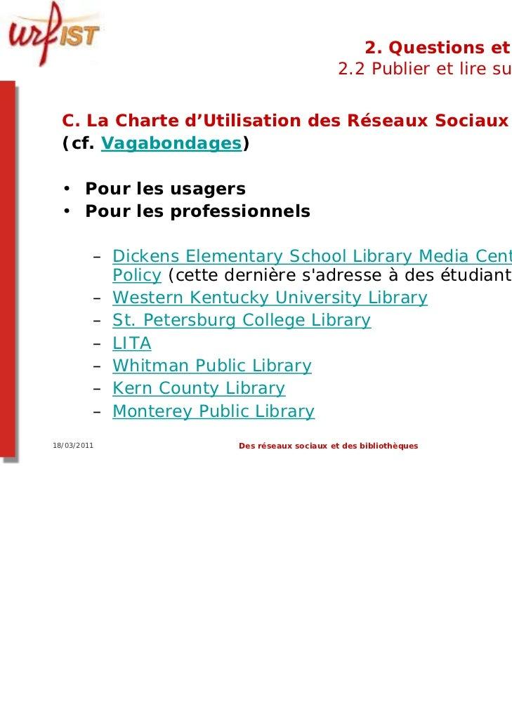 2. Questions et limites                                              2.2 Publier et lire sur le web  C. La Charte d'Utilis...