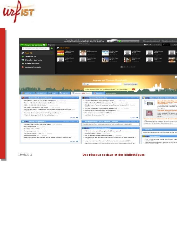 18/03/2011   Des réseaux sociaux et des bibliothèques   20
