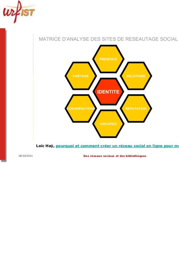 Loïc Haÿ, pourquoi et comment créer un réseau social en ligne pour mon territoire ?18/03/2011                          Des...