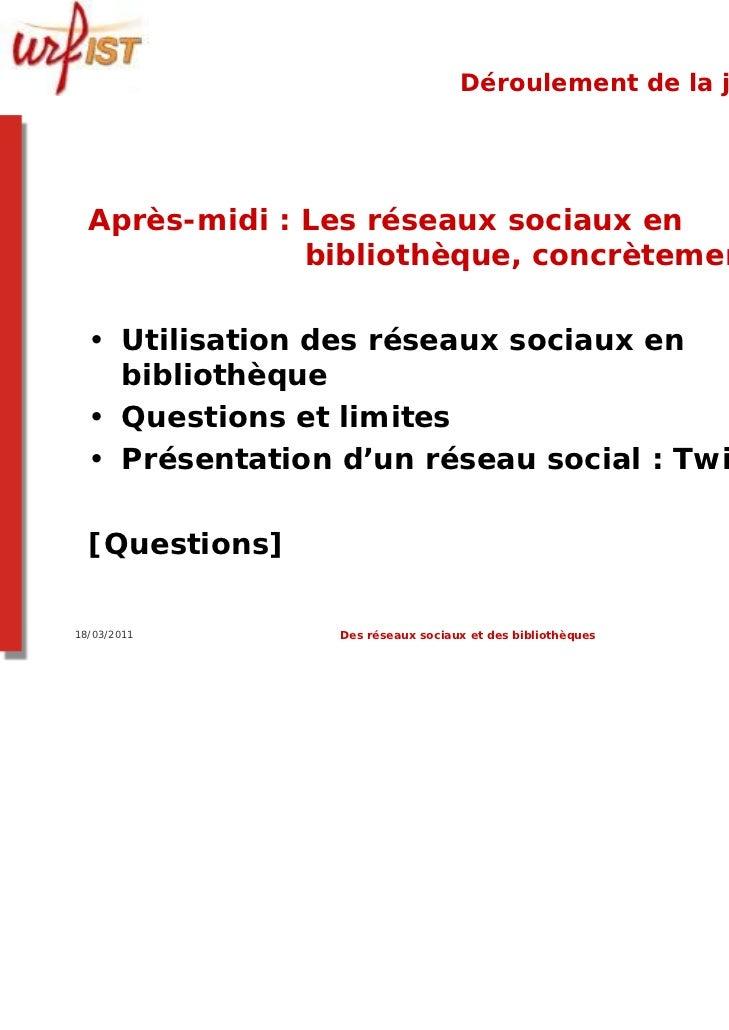 Déroulement de la journée  Après-midi : Les réseaux sociaux en               bibliothèque, concrètement.  • Utilisation de...