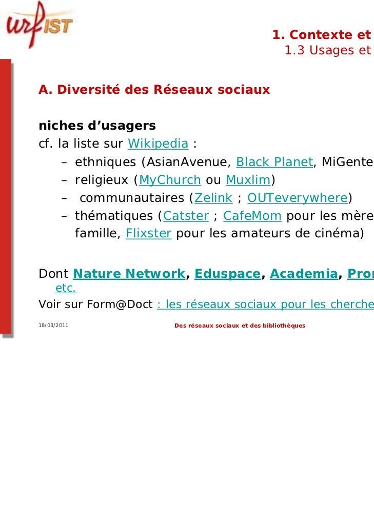 1. Contexte et usages                                                      1.3 Usages et usagersA. Diversité des Réseaux s...