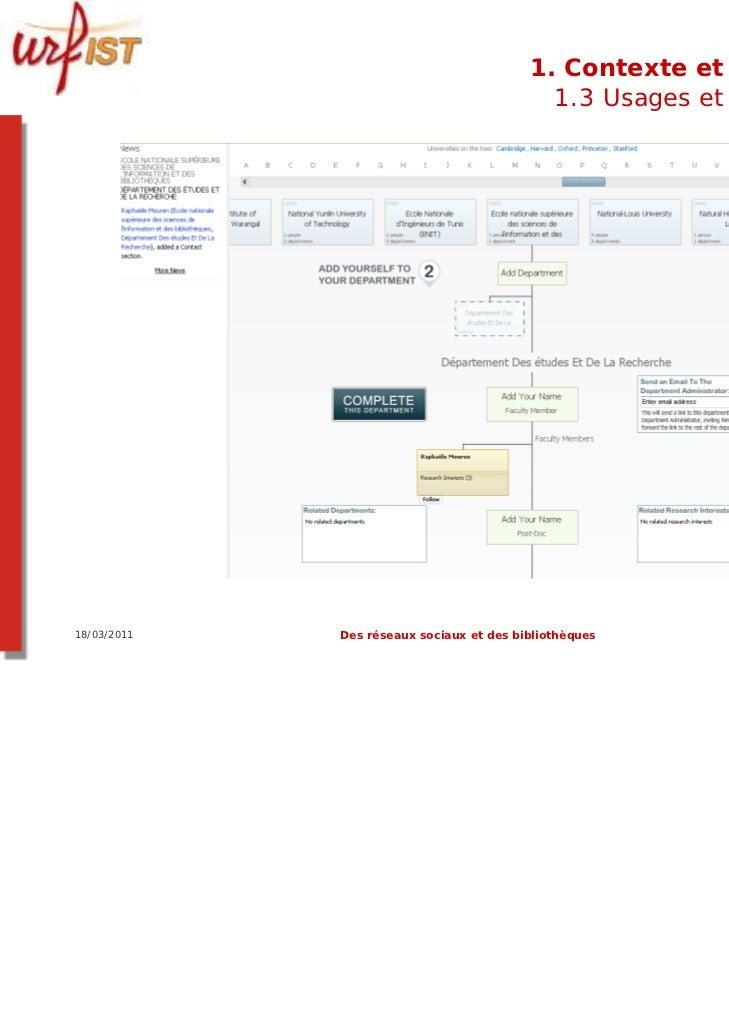 1. Contexte et usages                                            1.3 Usages et usagers18/03/2011   Des réseaux sociaux et ...