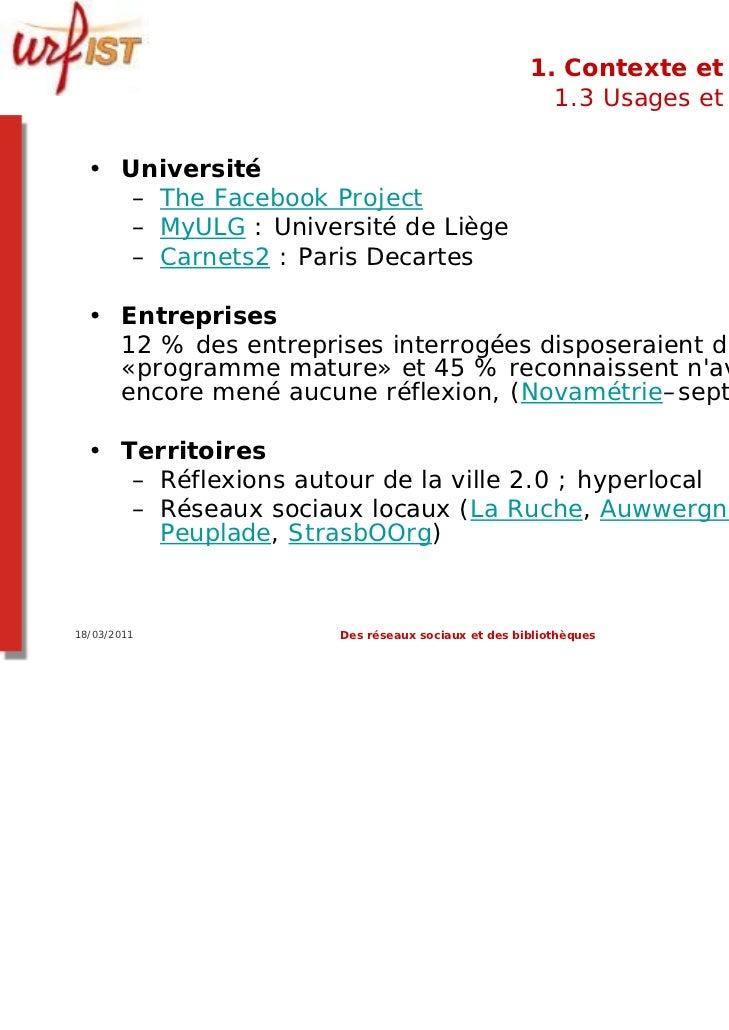 1. Contexte et usages                                                    1.3 Usages et usagers  • Université     – The Fac...