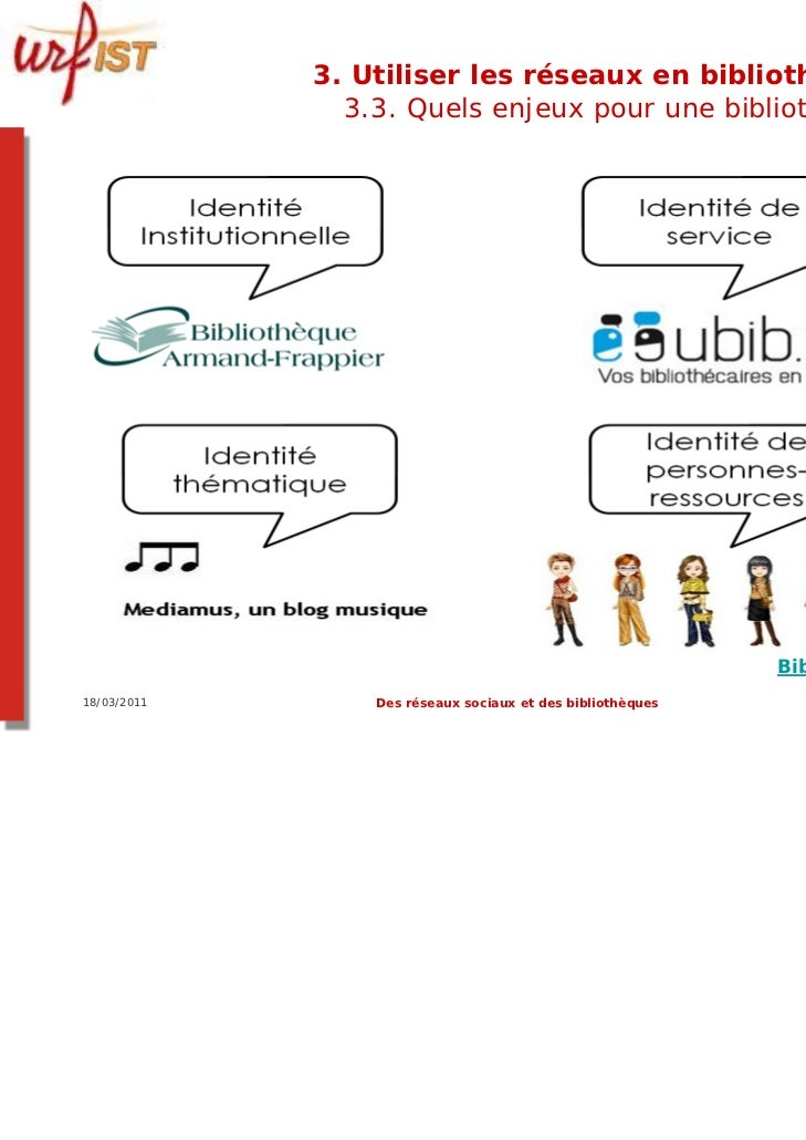 3. Utiliser les réseaux en bibliothèque ?               3.3. Quels enjeux pour une bibliothèque ?                         ...