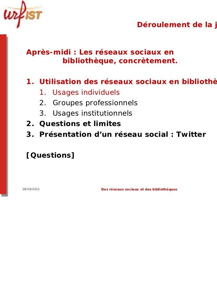 Déroulement de la journée  Après-midi : Les réseaux sociaux en          bibliothèque, concrètement.  1. Utilisation des ré...