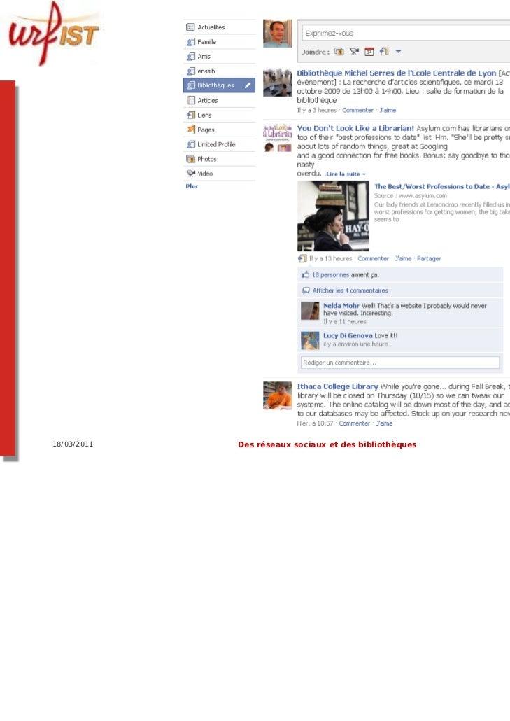 18/03/2011   Des réseaux sociaux et des bibliothèques   87
