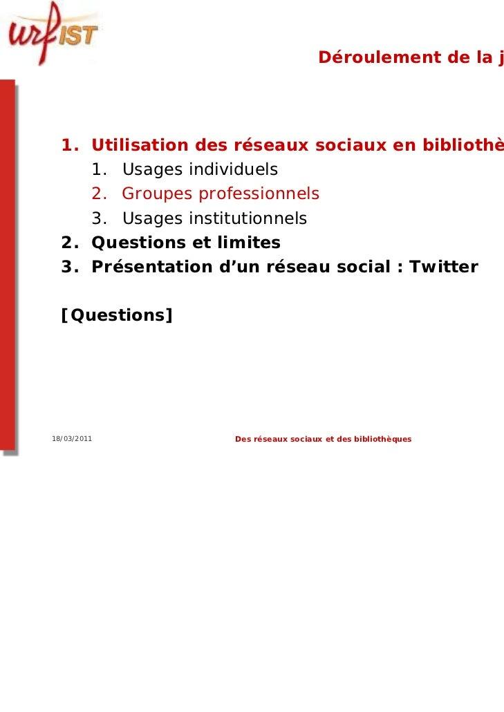 Déroulement de la journée  1. Utilisation des réseaux sociaux en bibliothèque     1. Usages individuels     2. Groupes pro...