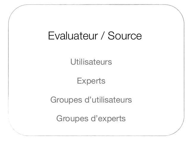 Evaluateur / Source Experts Utilisateurs Groupes d'experts Groupes d'utilisateurs