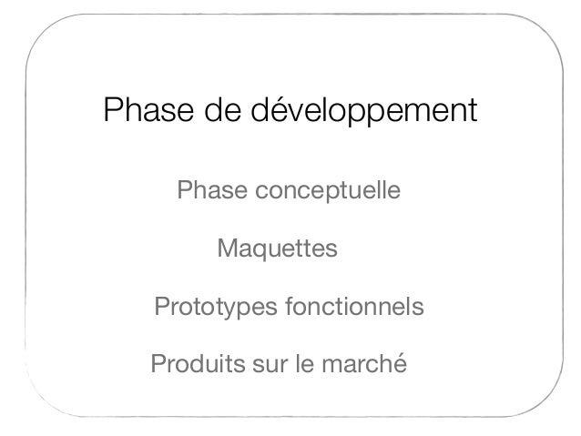 Phase de développement Maquettes Phase conceptuelle Produits sur le marché Prototypes fonctionnels