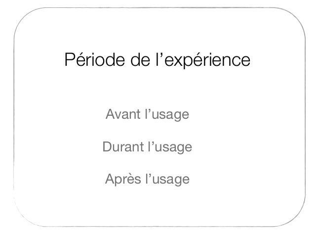 Période de l'expérience Durant l'usage Avant l'usage Après l'usage