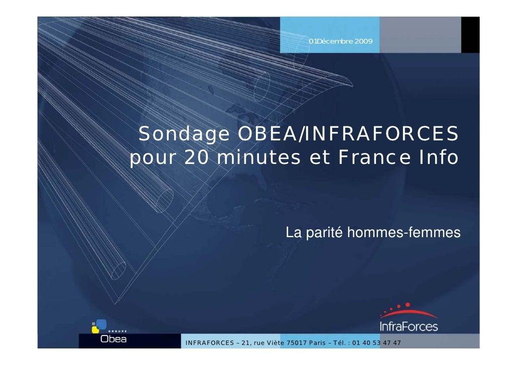 01Décembre 2009      Sondage OBEA/INFRAFORCES pour 20 minutes et France Info                                     La parité...