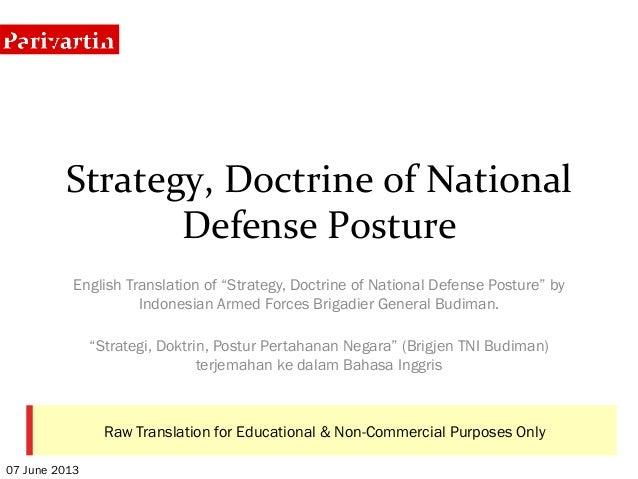 "Strategy, Doctrine of National Defense Posture English Translation of ""Strategy, Doctrine of National Defense ..."