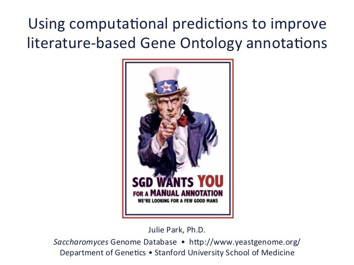 Using	  computa.onal	  predic.ons	  to	  improve	  literature-­‐based	  Gene	  Ontology	  annota.ons	                     ...