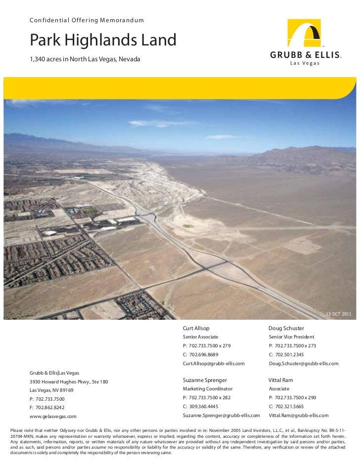 Con fi d e n t i a l O f fe r i n g M emorandum         Park Highlands Land         1,340 acres in North Las Vegas, Nevada...