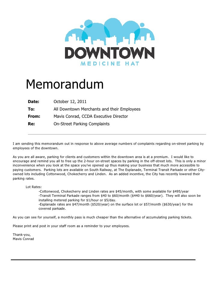 template for writing a memo - parking memorandum