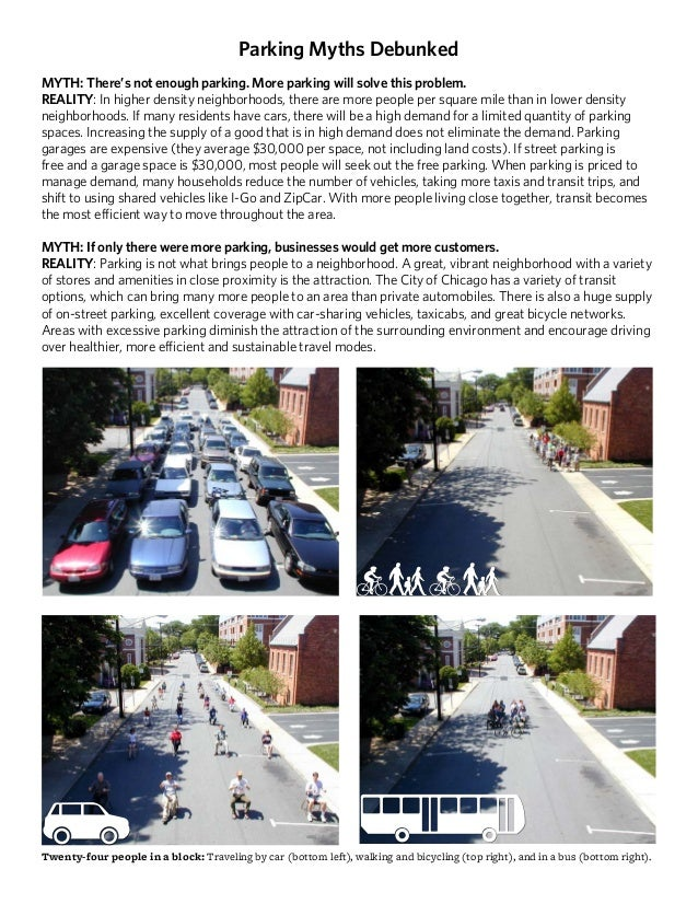 Parking Myths Debunked MYTH: There's not enough parking. More parking will solve this problem. REALITY: In higher density ...
