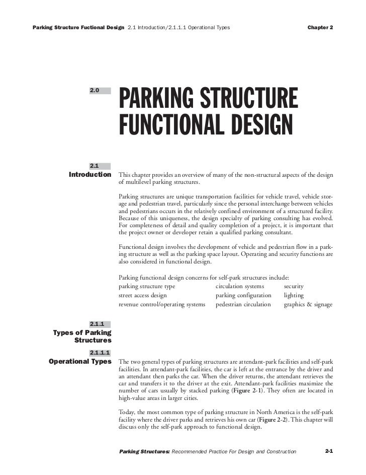 . Parking Structures Recommended Practices for Design and Construction