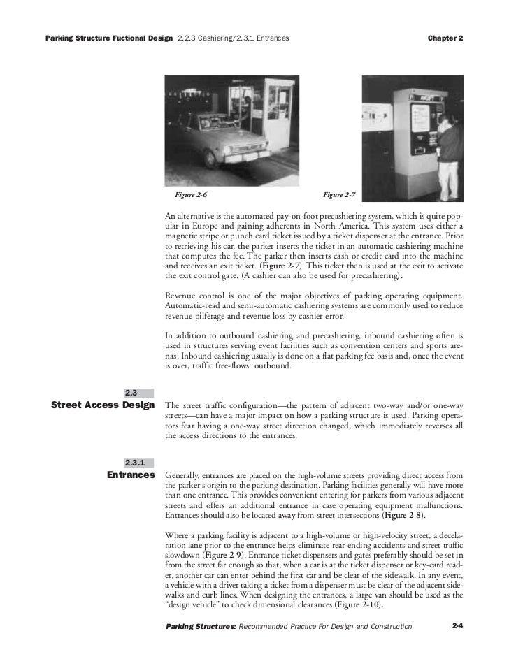 Parking Structure Fuctional Design 2.2.3 Cashiering/2.3.1 Entrances                                              Chapter 2...