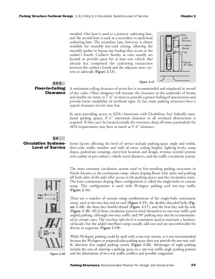 Parking Structure Fuctional Design 2.3.2 Exits/2.4 Circulation Systems-Level of Service                            Chapter...