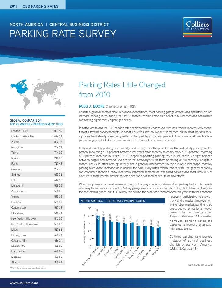 2011 | CBD PARKING RATESNORTH AMERICA | CENTRAL BUSINESS DISTRICTPARKING RATE SURVEY                                      ...